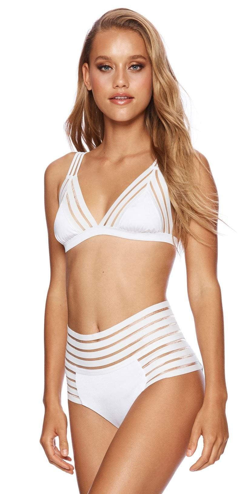 Beach Bunny Sheer Addiction High Waist Bikini Bottom in White B16125B0-WHT front view of top and bottom