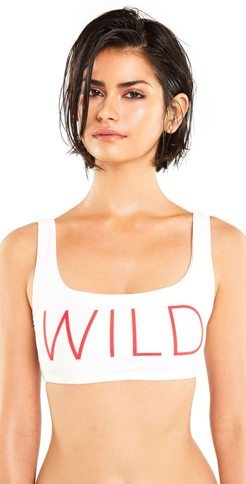 Wildfox Wild Crop Tank Bikini Top in White front view of top only
