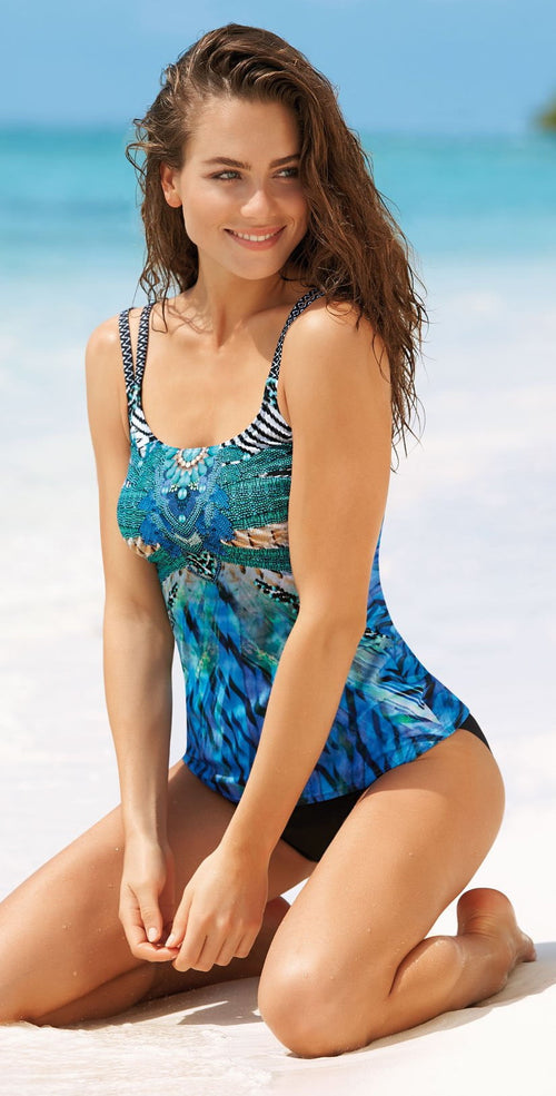 Sunflair Blue Charm Mastectomy Tankini 28056 front view of top and bottom