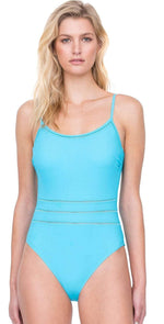 Gottex Finesse Round Neck Tank One Piece Swimsuit 19FI 134 AQUA:
