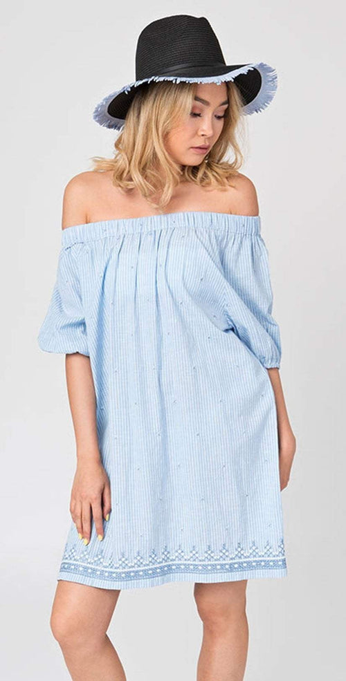Pia Rossini Caprice Bardot Dress  CAP00038  off shoulder dress in blue and white