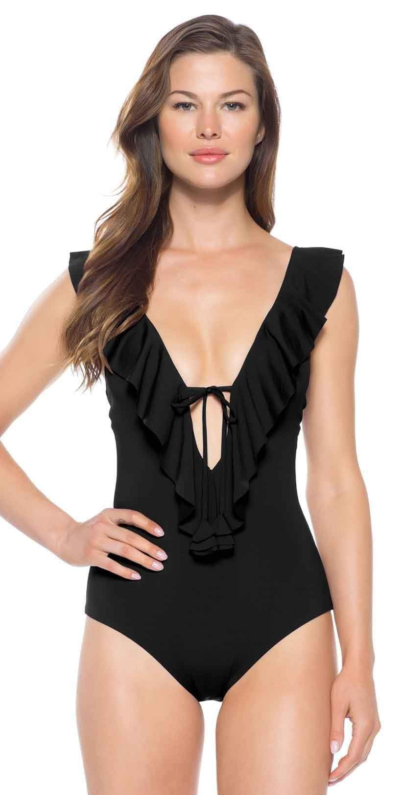 Becca Socialite Ruffle One Piece Swimsuit 191097 BLK: