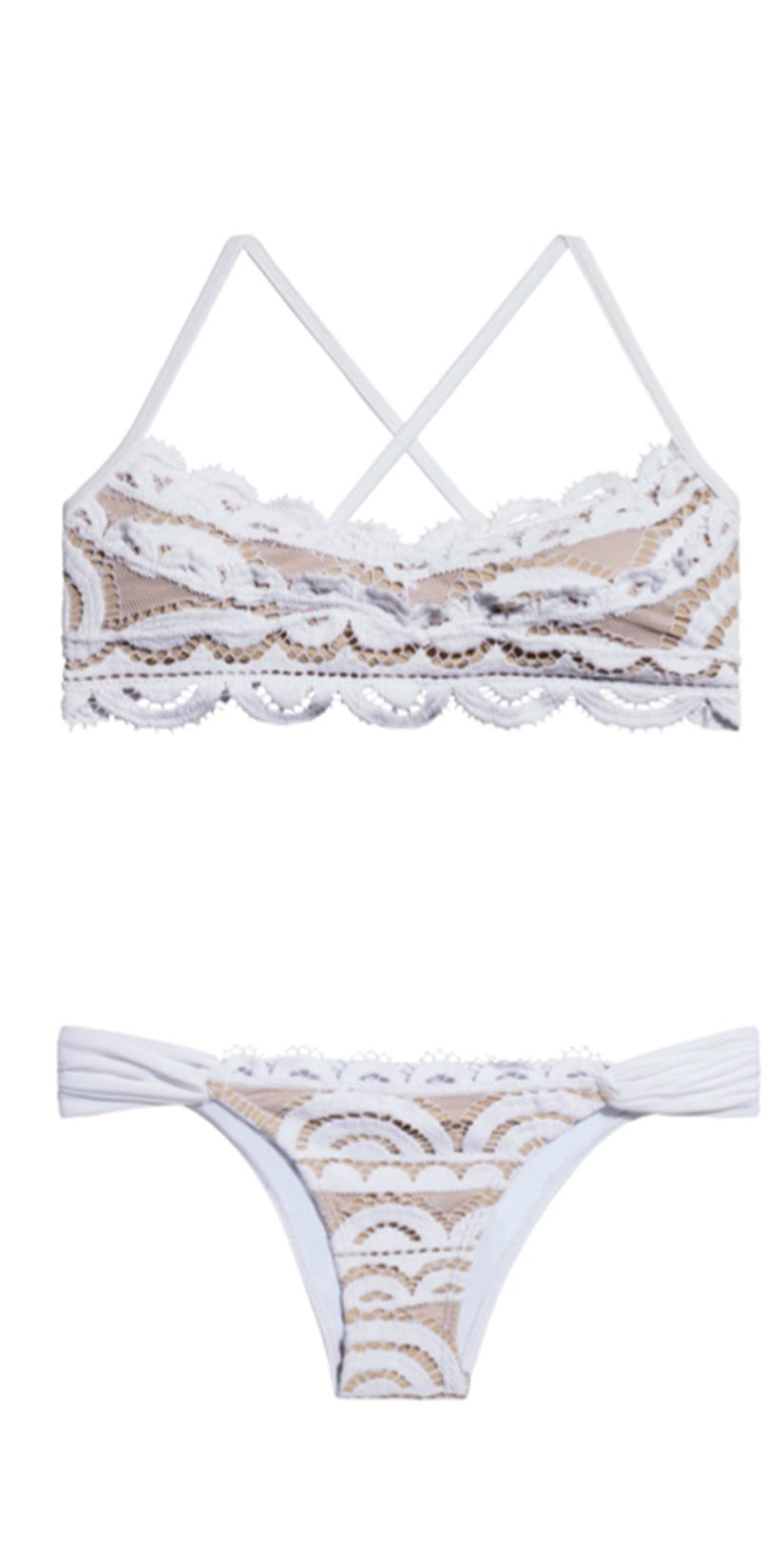 PilyQ Water Lily Lace Bralette Top in White WAT-131B top and bottom