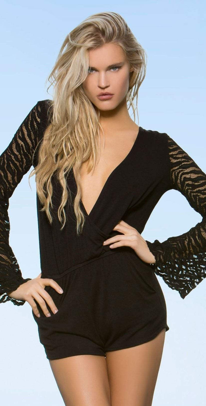 Lady Lux Pillow Talk Black Romper LL219R: