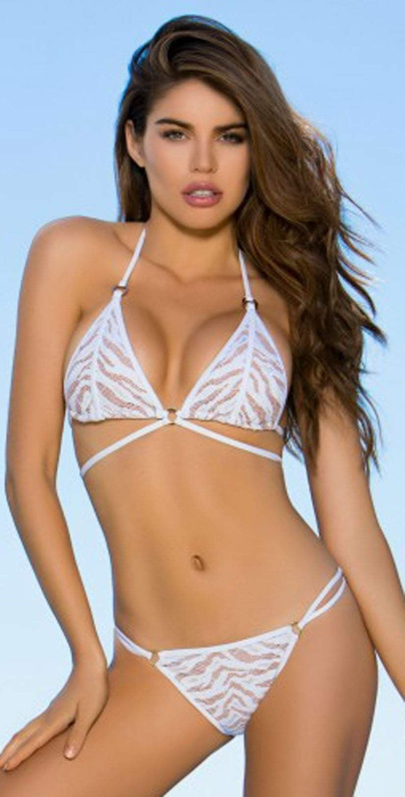 Lady Lux Pillow Talk White Strappy Bikini Top  LL218TW: