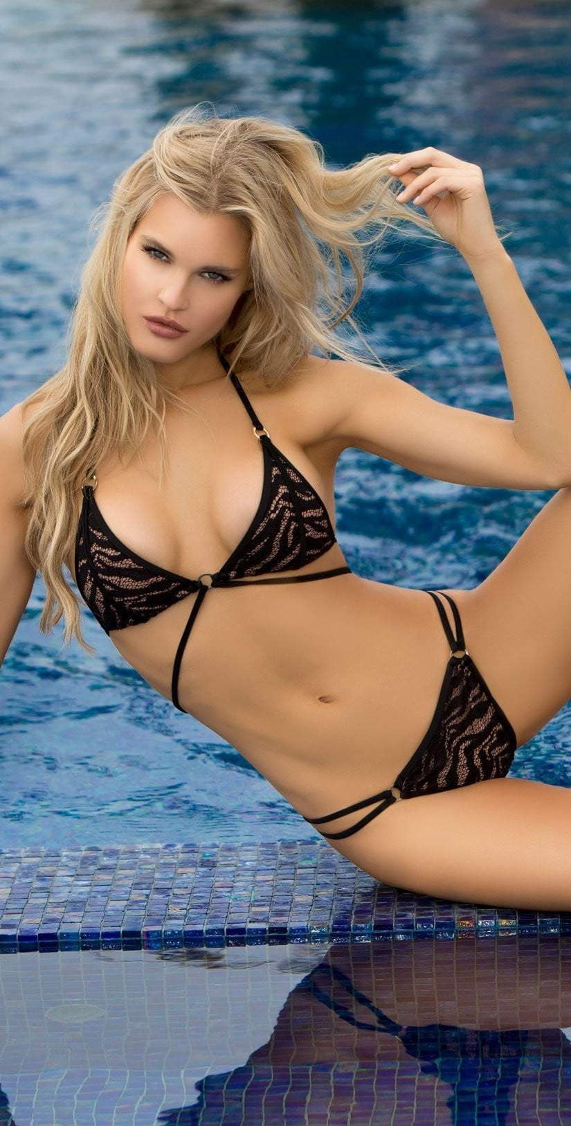 Lady Lux Pillow Talk Black Brief Strappy Bikini Bottom LL218BB: