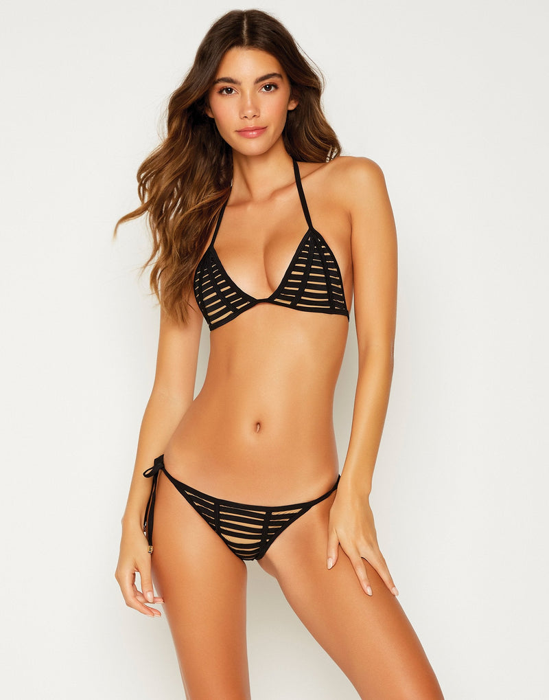 Black Hard Summer Tie Side Bathing Suit - front view