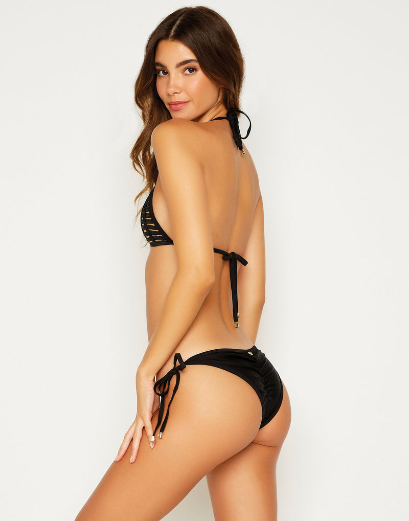 Black Hard Summer Tie Side Bikini Bottom - side view