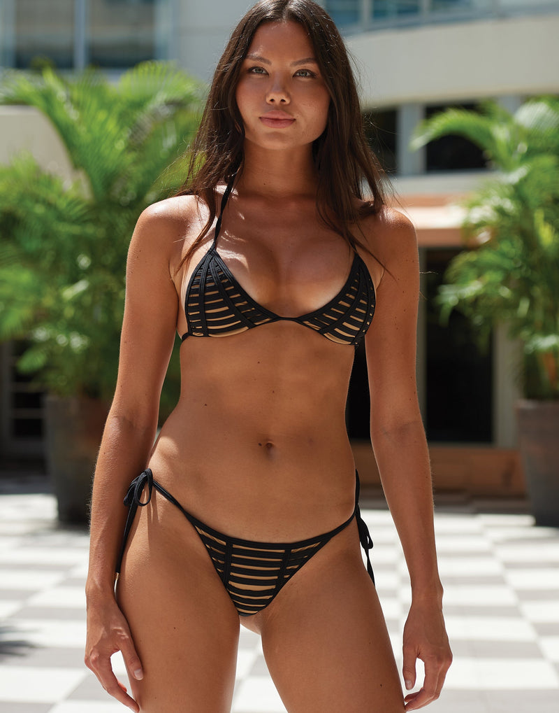 Hard Summer Tie Side Bikini Bottom in Black - Runway View