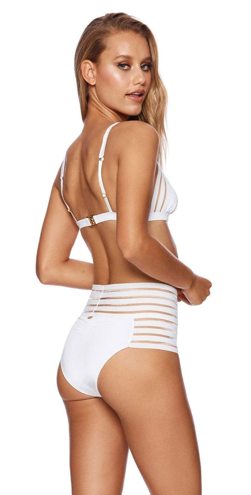 Beach Bunny Sheer Addiction High Waist Bikini Bottom in White B16125B0-WHT back view