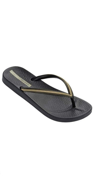 Ipanema Ana Metallic II Flip Flop in Black/Gold 23480-82021: