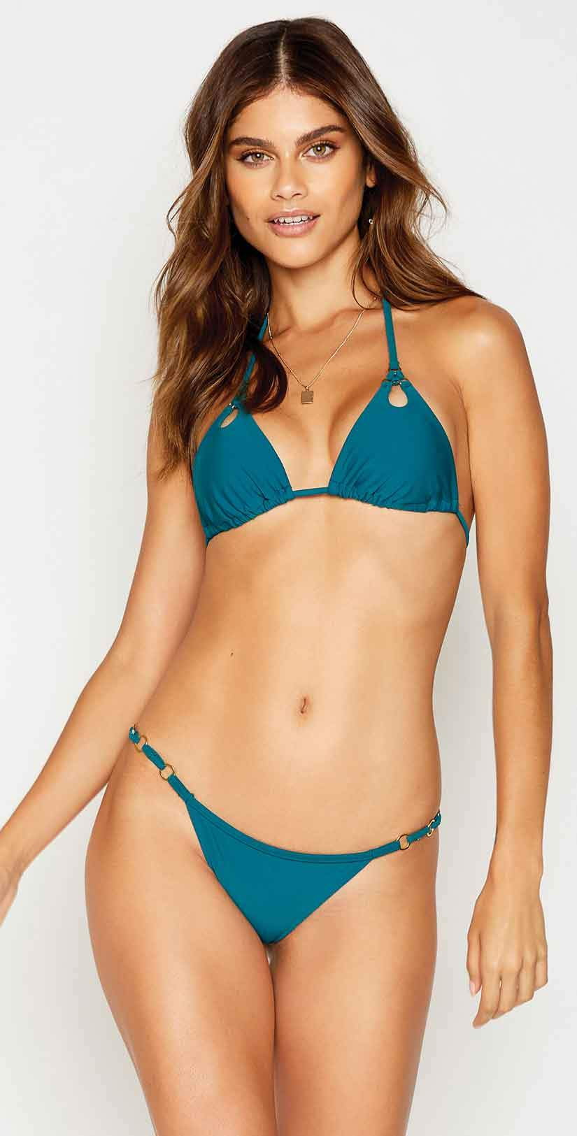 Beach Bunny Ireland Skimpy Bottom in Teal: