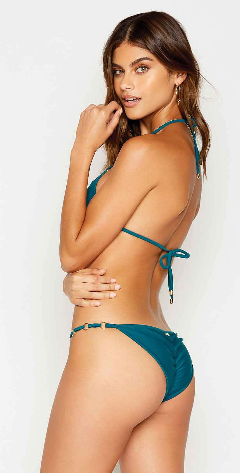 Beach Bunny Ireland Keyhole Tri Top in Teal: