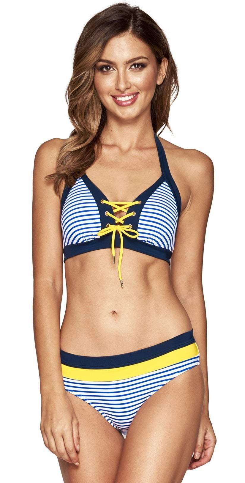 Jets Panama Plunge Lace Up Bra Bikini Top J4870-OCNC: