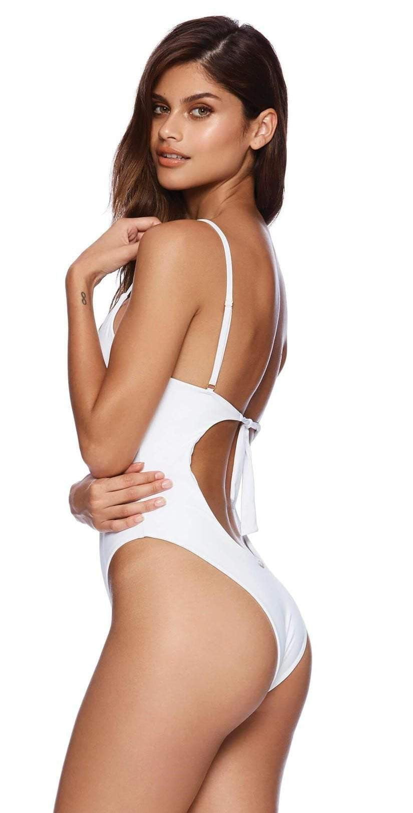 Beach Bunny Katrina One Piece Swimsuit B191171P White: