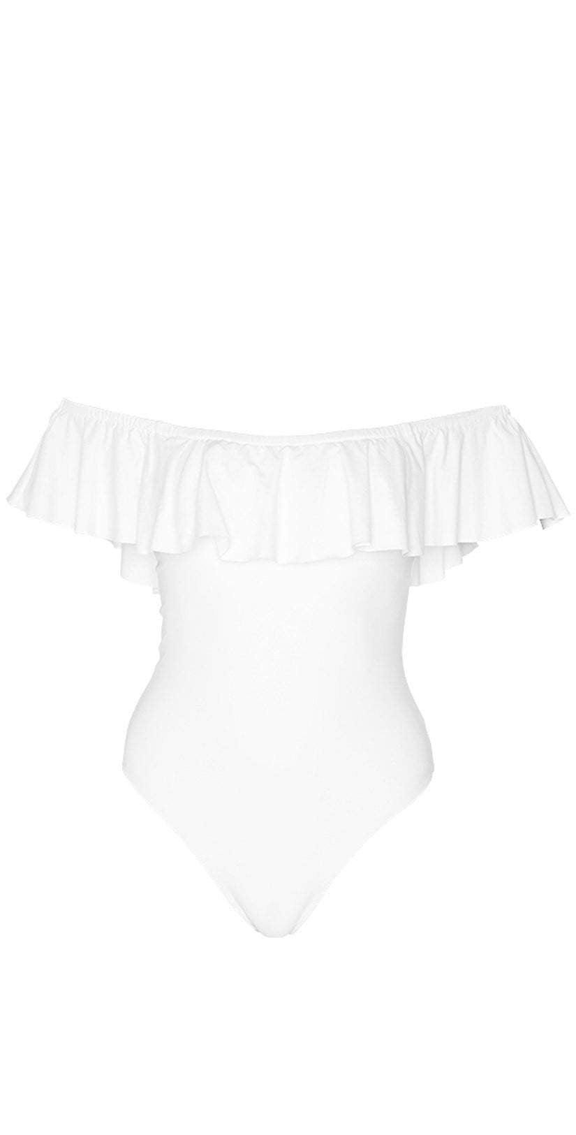 L Space Ruffles Kimora Off Shoulder One Piece in White MTKMM18-WHT flat lay studio