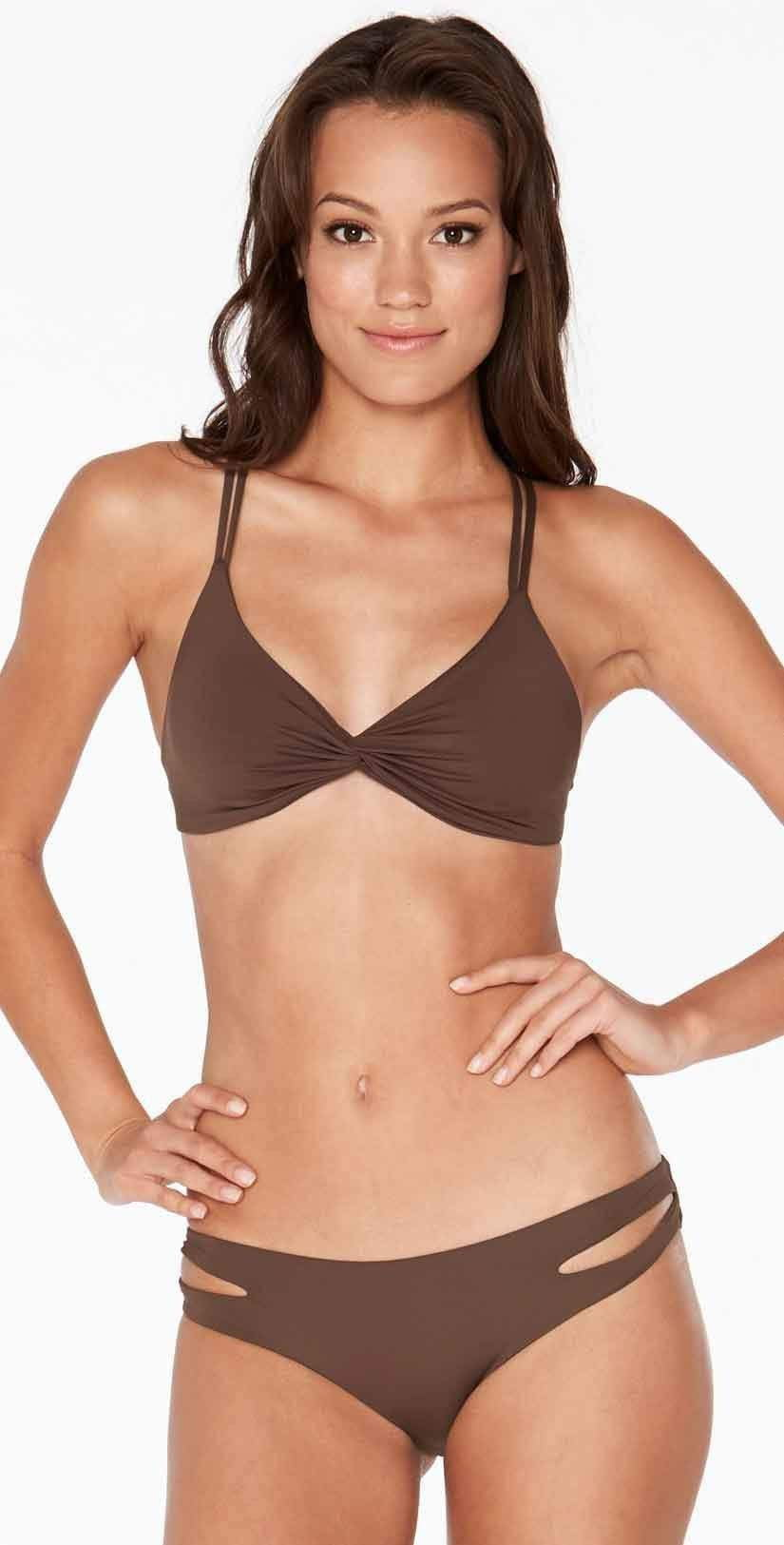 L Space Estella Full Cut Bottom in Chocolate front studio