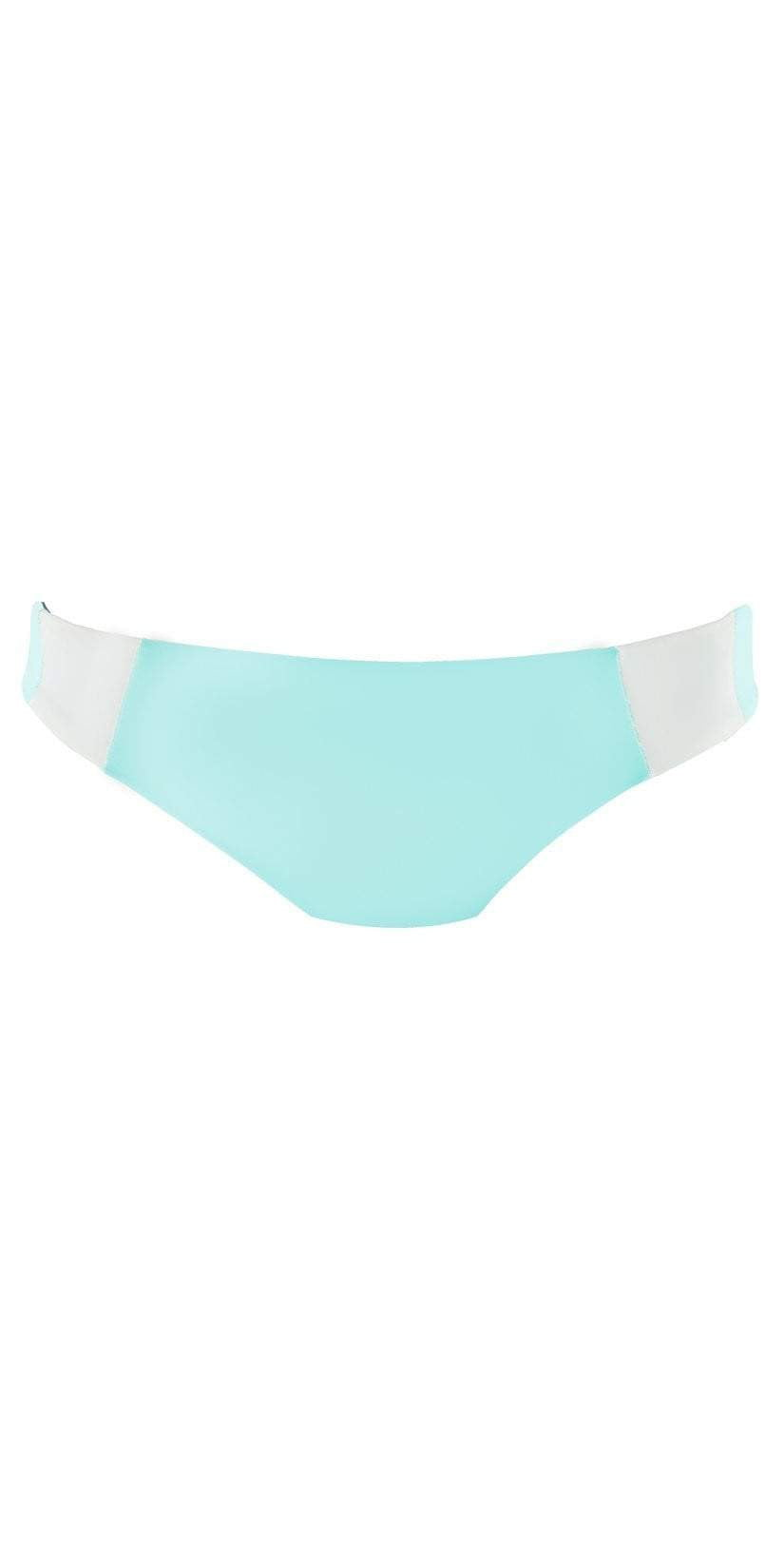 L Space Mia Color Block Reversible Light Turquoise Bottom CBMAC16-LIT  Flat Lay