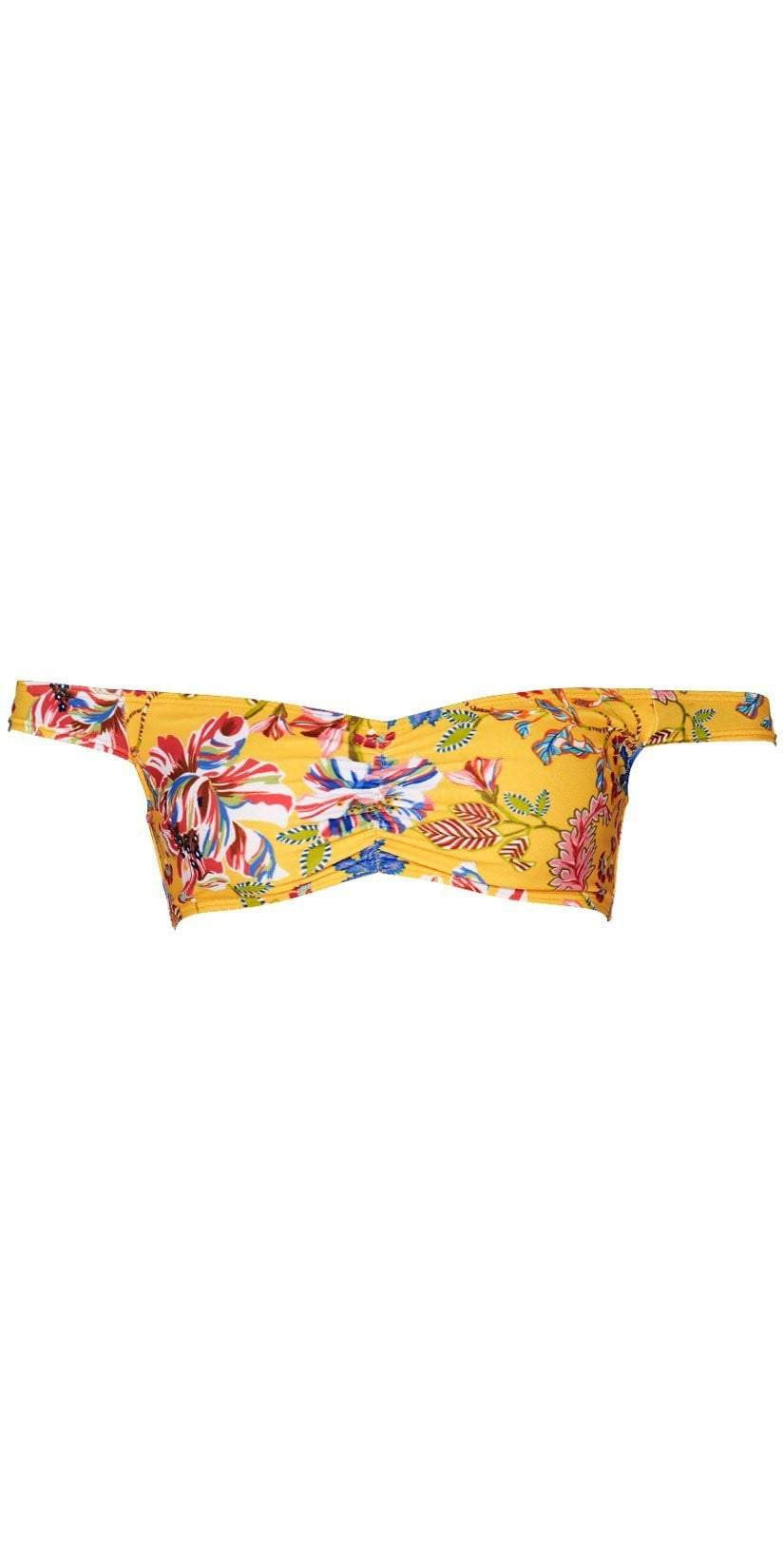 L Space Pacific Bloom Ziggy Top in Sunshine Gold PBZGT18-SUG flat lay top
