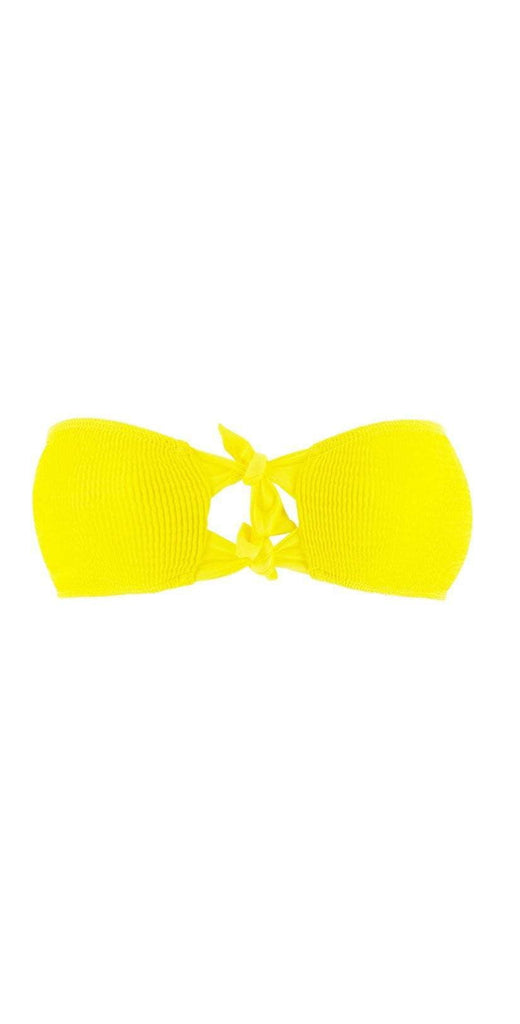 L Space Pucker Up Neon Yellow Kristen Bikini Top PKKST18-CAY flat lay of just top