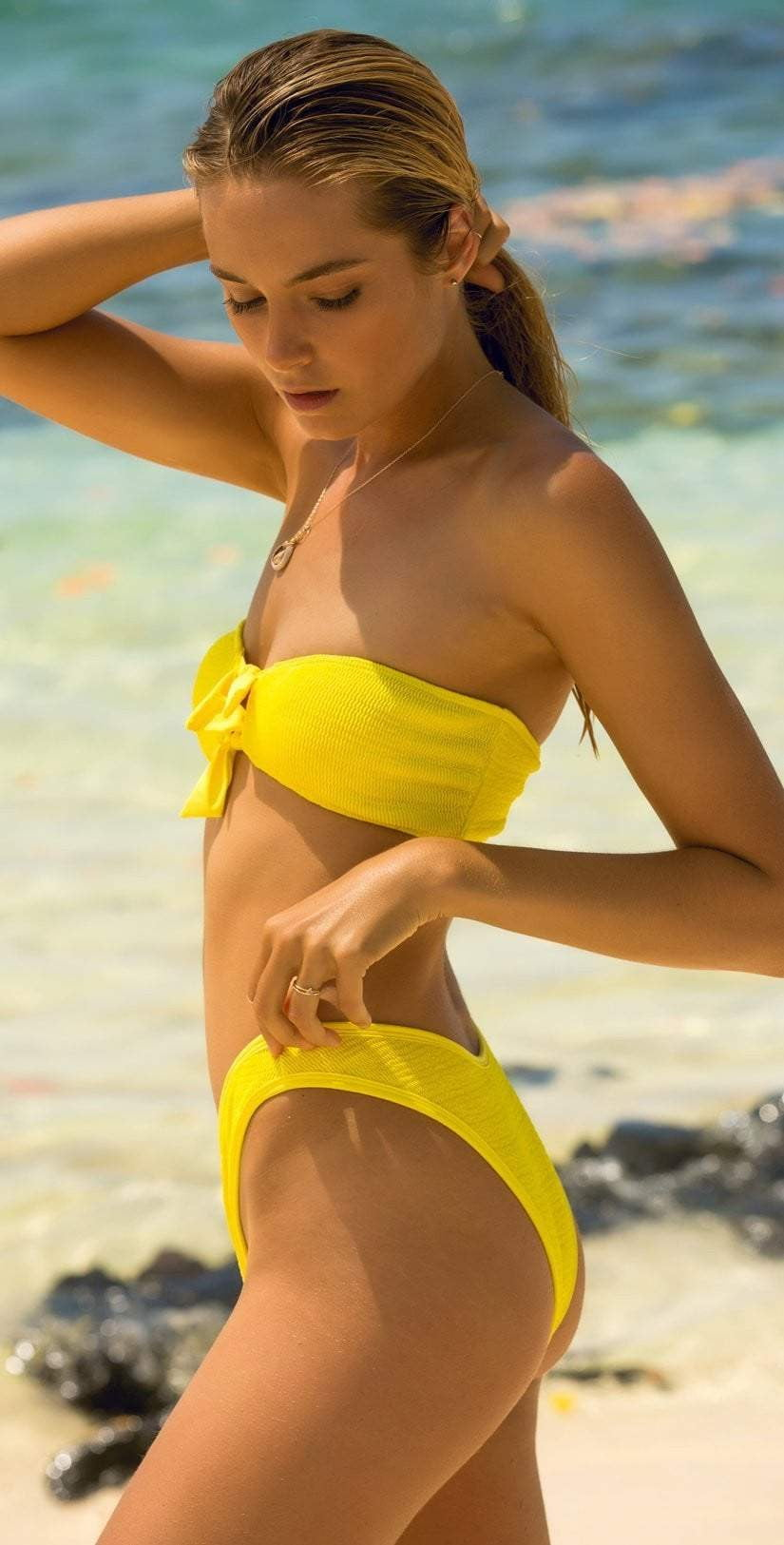 L Space Pucker Up Yellow Whiplash Bikini Bottom PKWPB18-CAY side view of top and bottom