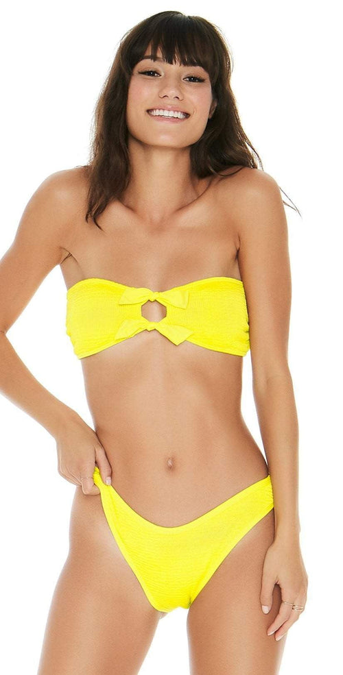 L Space Pucker Up Neon Yellow Kristen Bikini Top PKKST18-CAY front view of top and bottom