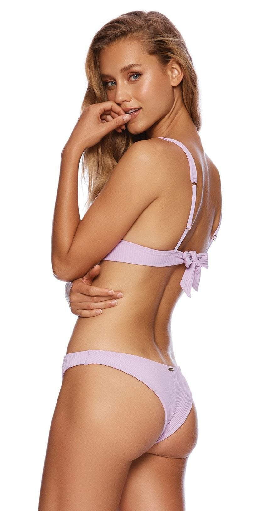 Beach Bunny Larson High Apex Bikini Top in Lavender B19112T4-LAV: