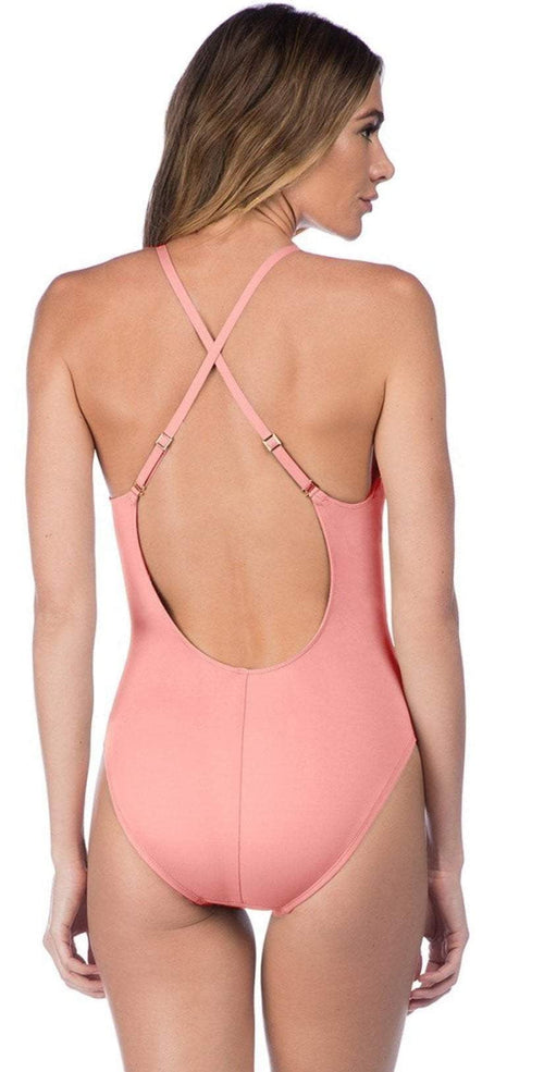 La Blanca Island Goddess Plunge One-Piece in Light Coral LB7AA15-LCR: