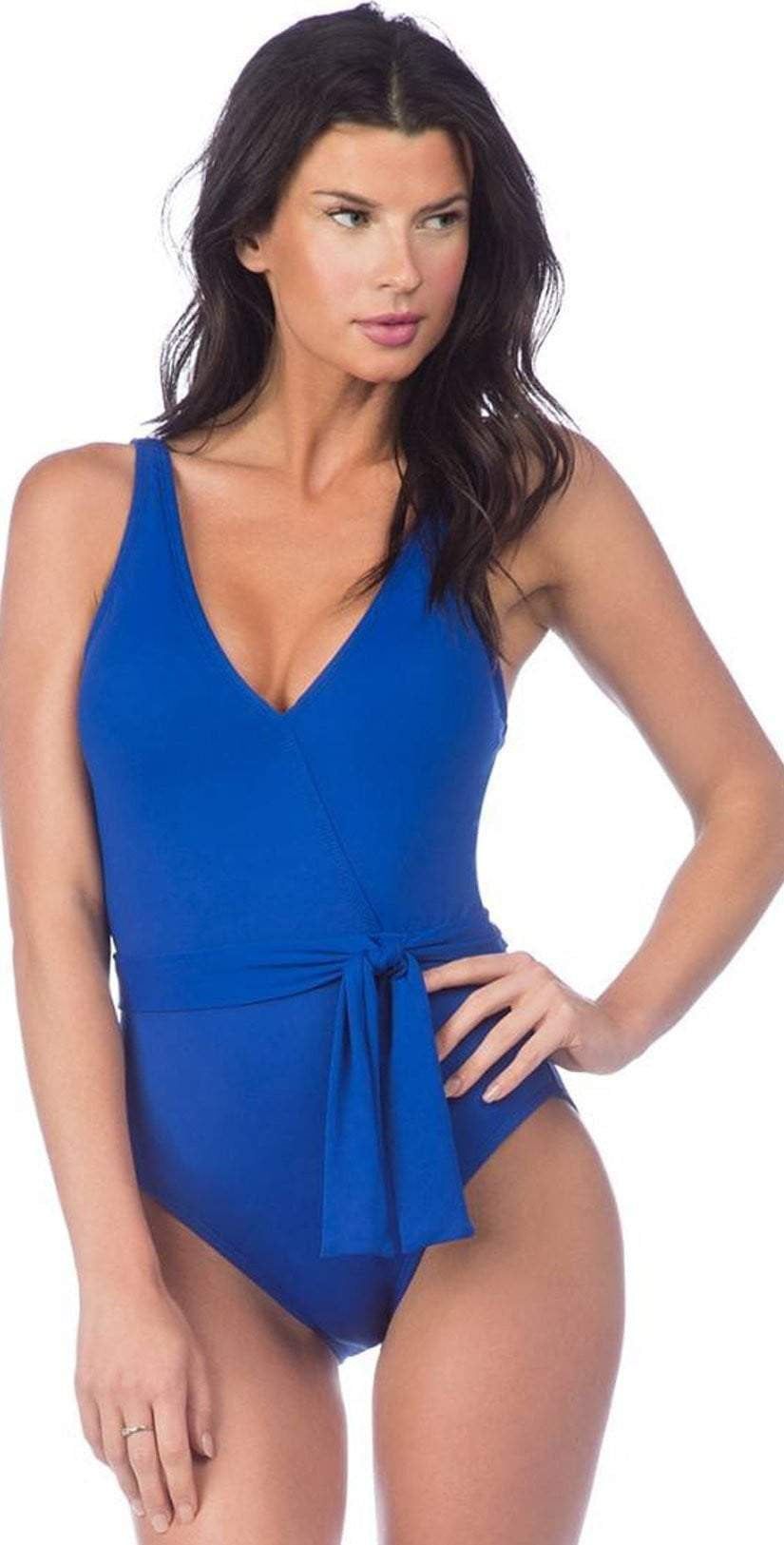 La Blanca Island Goddess Surplice One-Piece in Apollo Blue Swimsuit LB8LA12-APB: