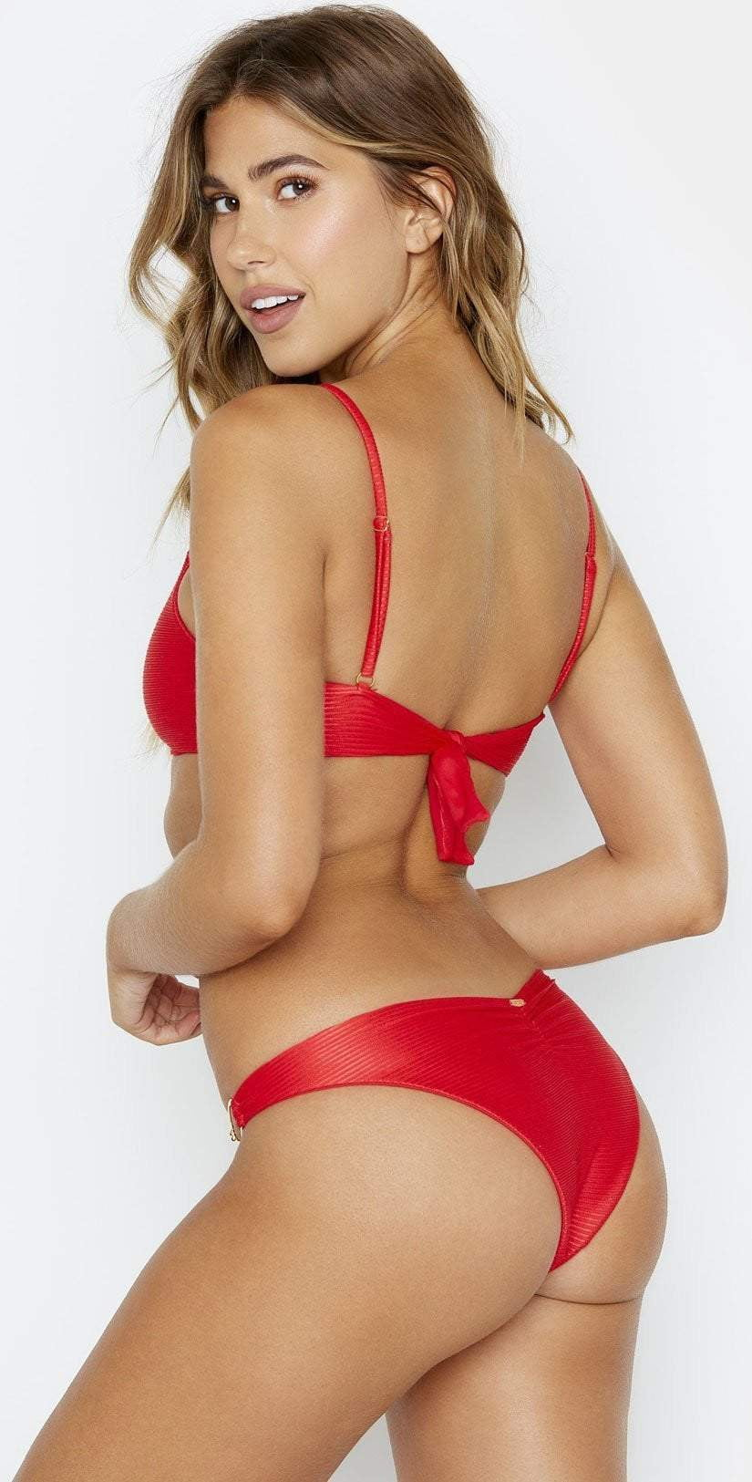 Beach Bunny Nadia Skimpy Bikini Bottom in Red B19147B1 REDD:
