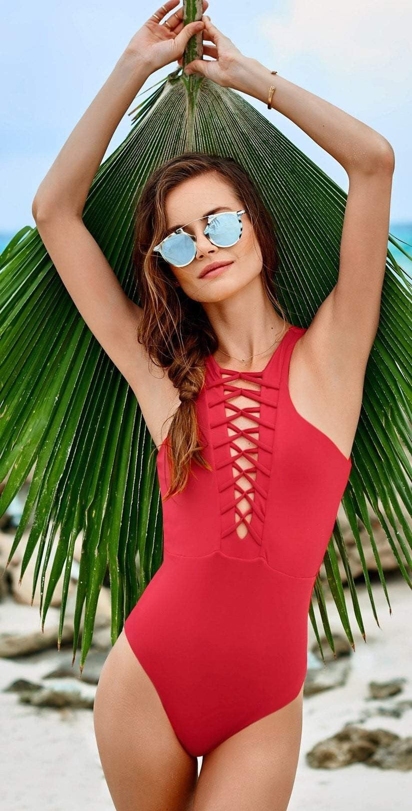 Malai Cherry High Neck One Piece OP0092 Life style