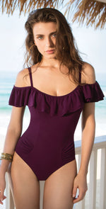 Profile by Gottex Gala Off The Shoulder One Piece in Wine E837-2063-601: