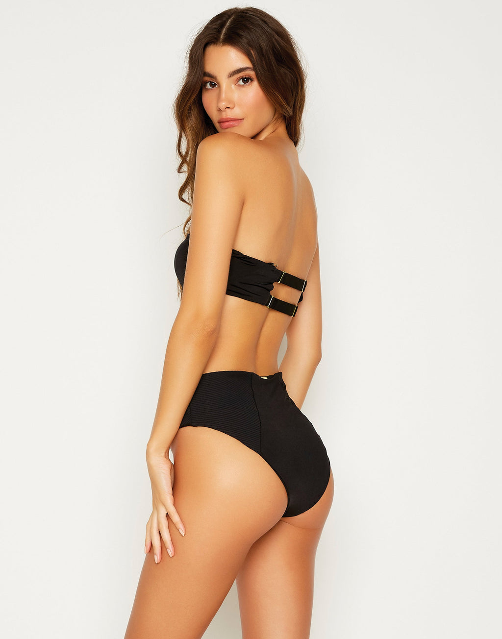 London Sexy Bralette Bikini Top without Straps in Black - back view