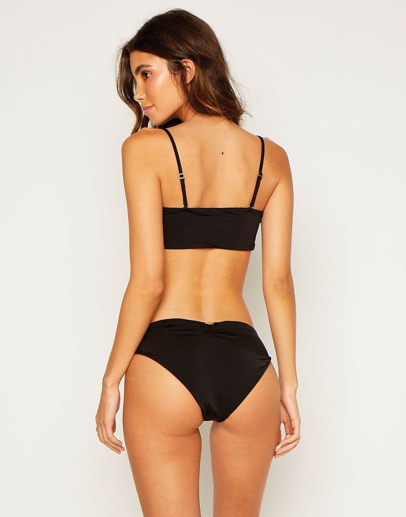 Kate Full Coverage Bikini Bottom in Black - back view