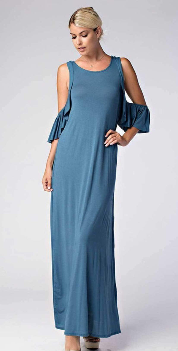 Love In Cold Shoulder Round Neck Ruffle Maxi Dress D10278