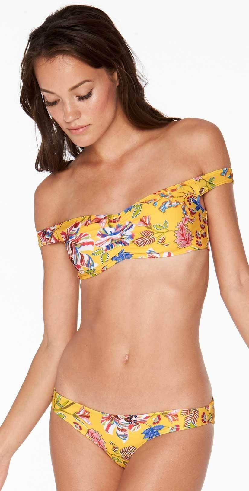 L Space Pacific Bloom Ziggy Top in Sunshine Gold PBZGT18-SUG front studio