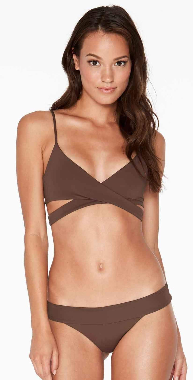 L Space Rocky Wrap Top in Chocolate LSRKT16-CHO: