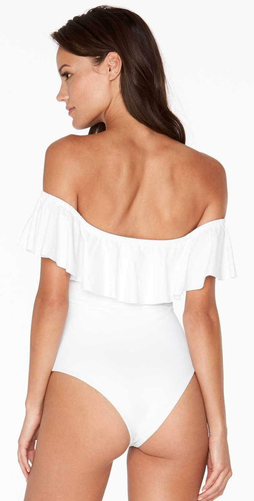 L Space Ruffles Kimora Off Shoulder One Piece in White MTKMM18-WHT back studio