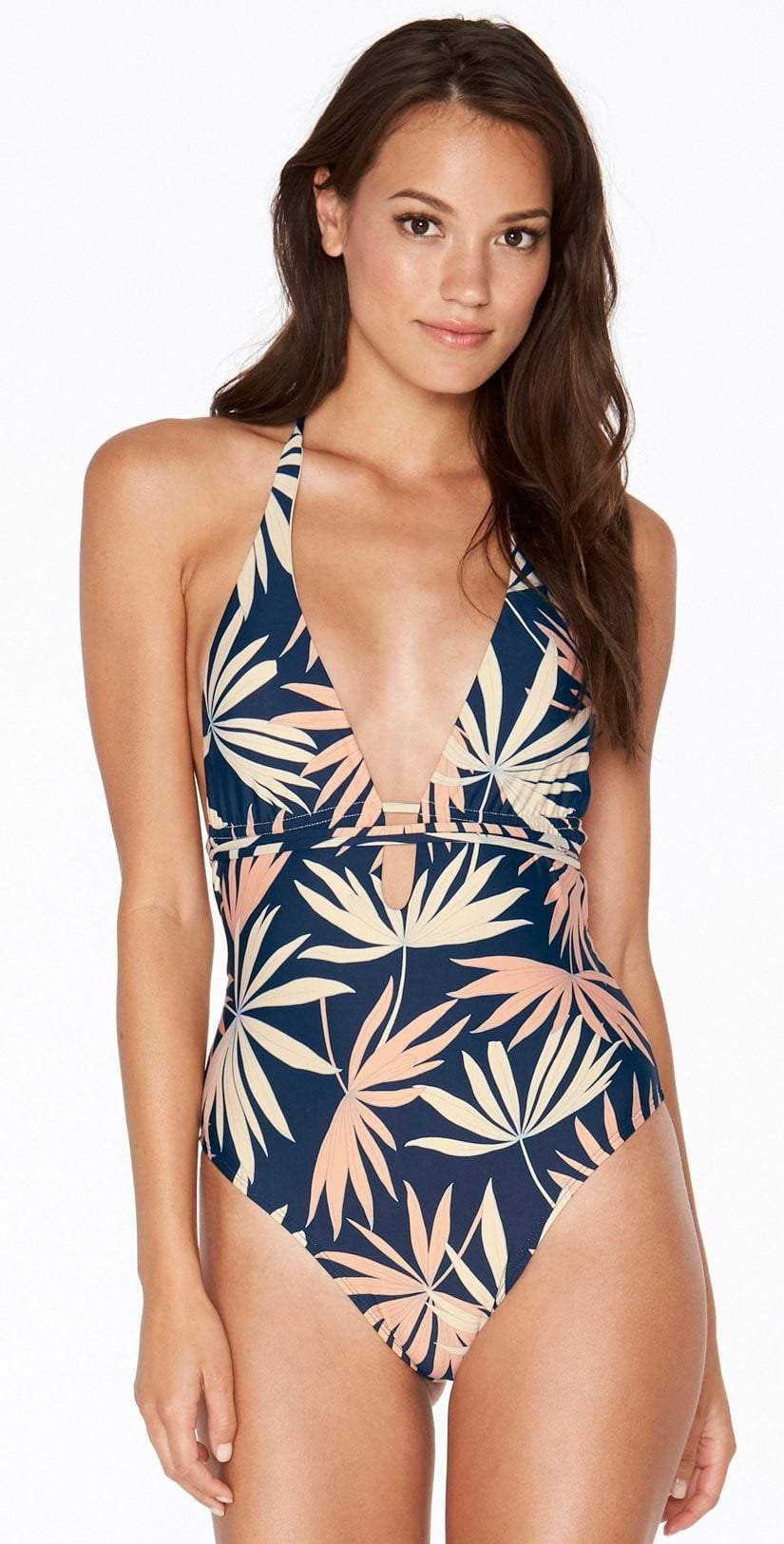 L Space Pamela One Piece in Polynesian Palm PNPMM18-NVY: