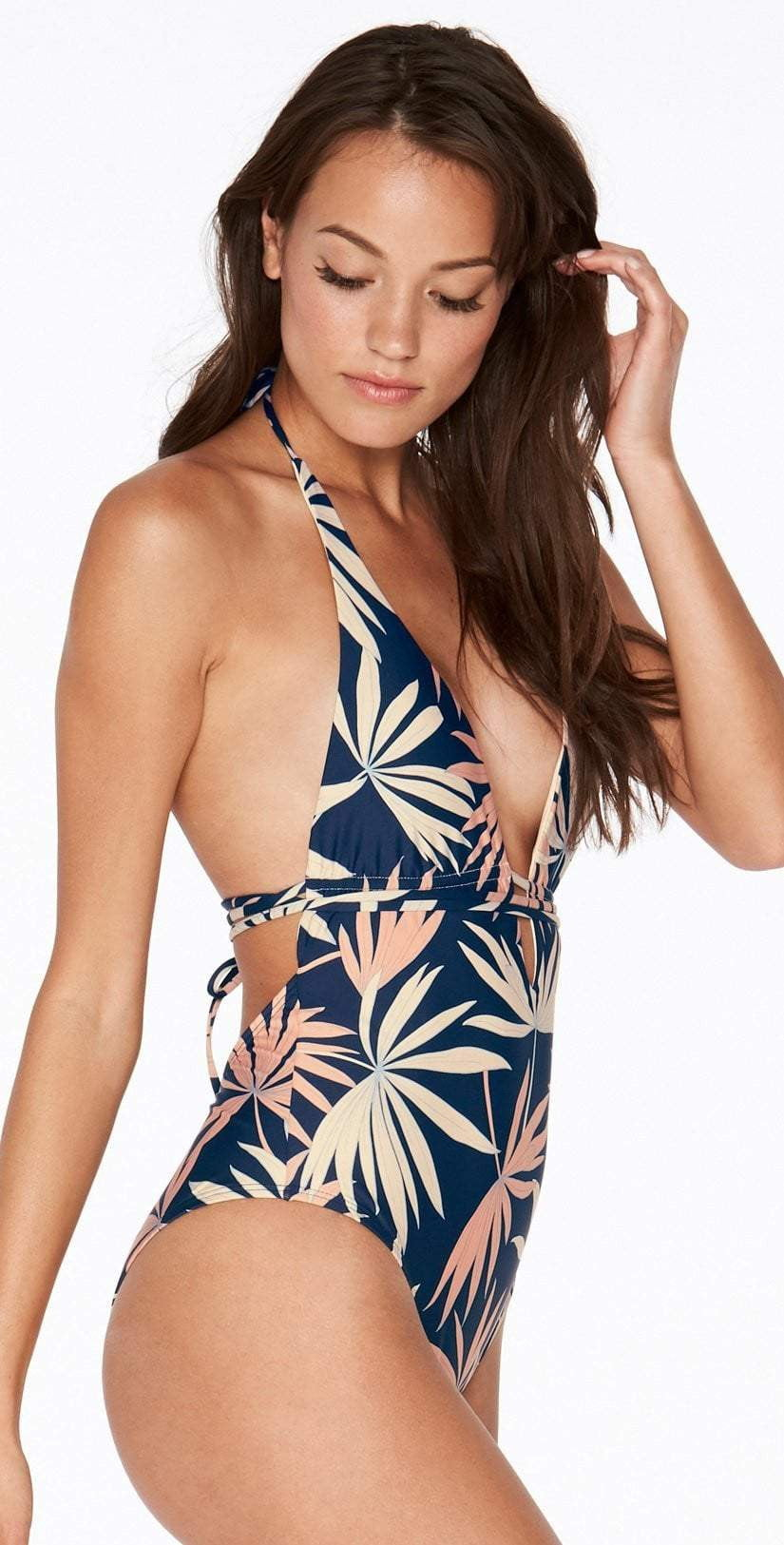 L Space Pamela One Piece in Polynesian Palm PNPMM18-NVY side studio