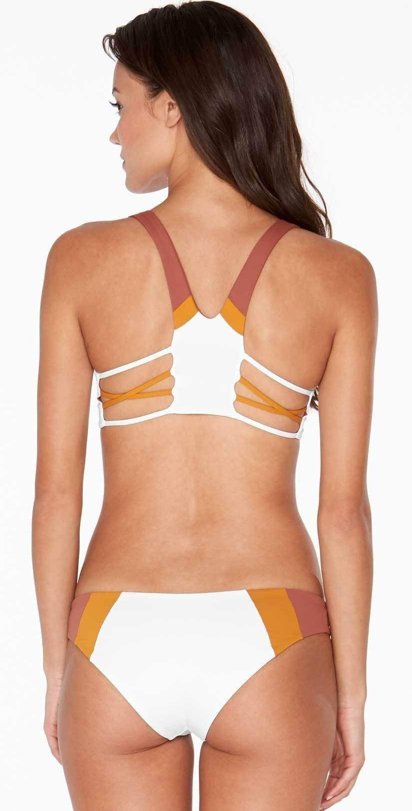L Space Color Block Reversible Mia Bottom in White CBMAC18-WHT back studio