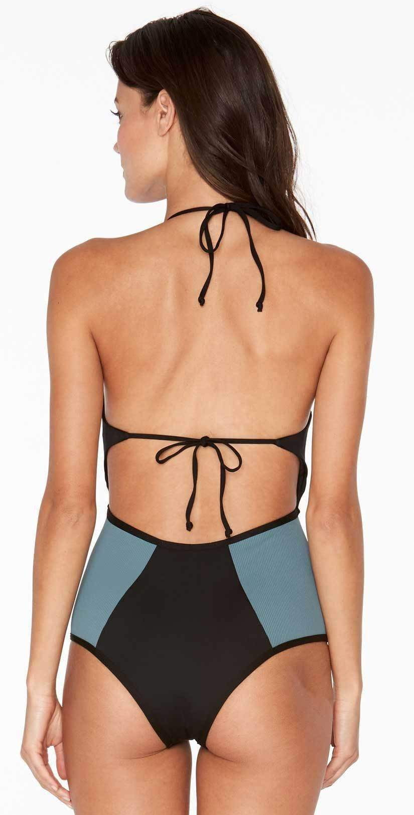 L Space Fireside One Piece in Black RHFIM18-BLK  back view