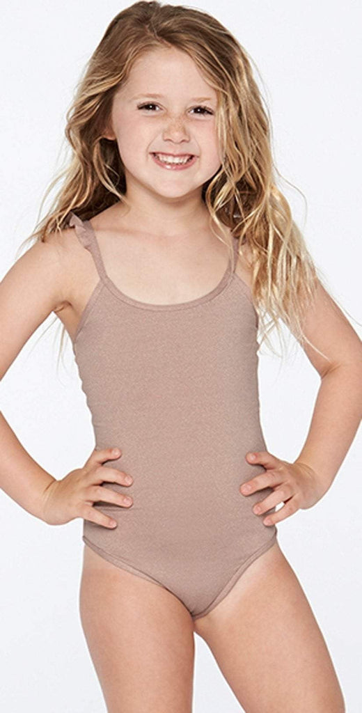 L Space Girls Katie Shimmer One Piece in Dusty Pearl BSKAM18-DSP front studio