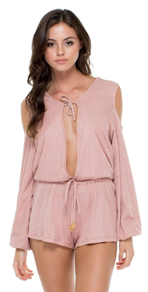Luli Fama Sabor Longsleeve Romper in Rose Silver L557A29-447 front  view