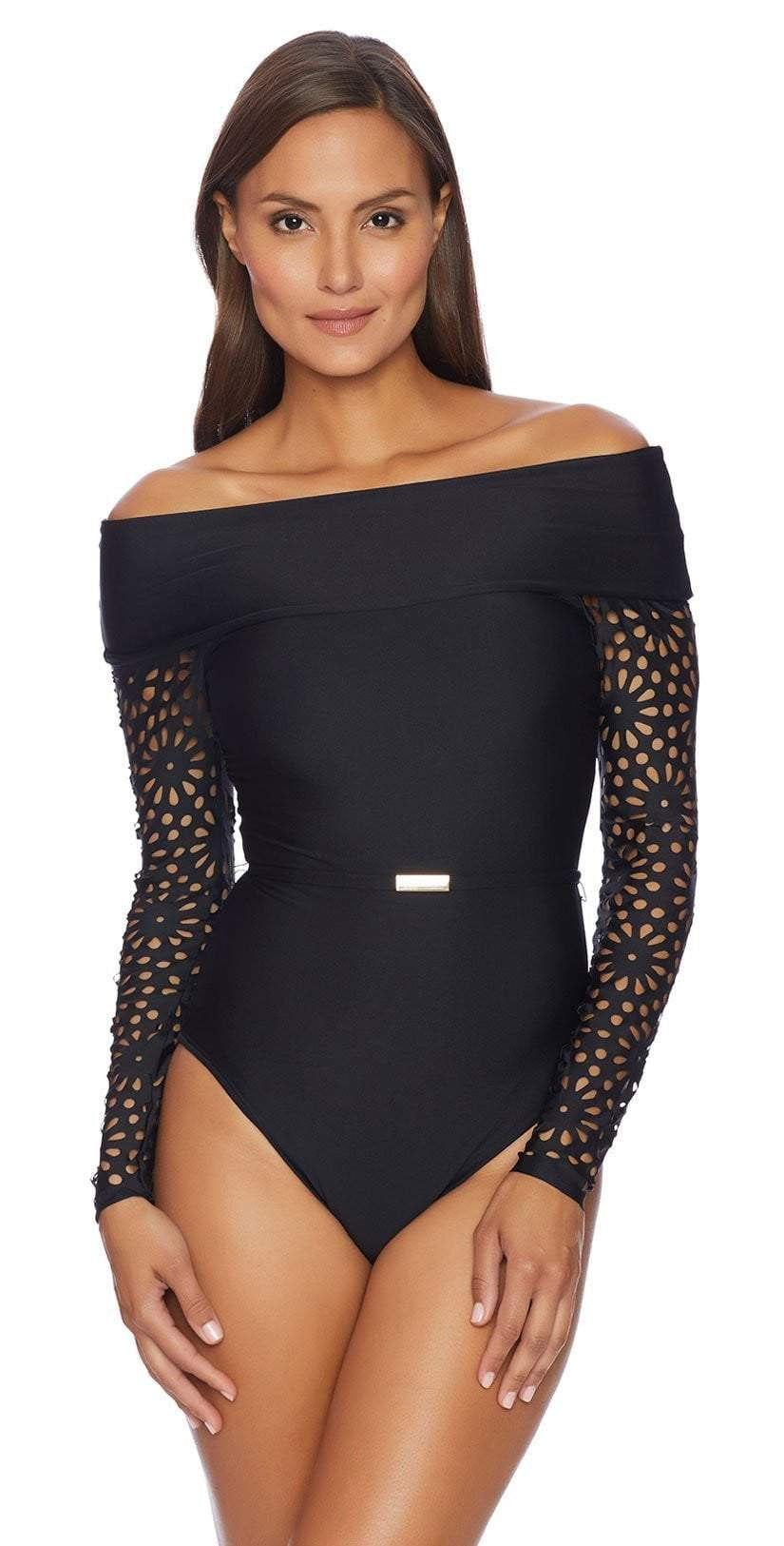 Luxe Aphrodite Long Sleeve One Piece in Black LU13538-BLK: