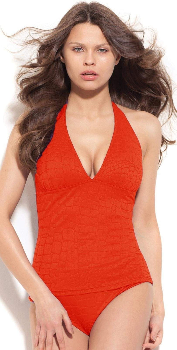 Gottex Mikado Leopard V Neck Tankini in Red M03-917-812