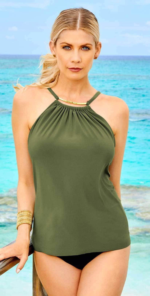 Magicsuit A Lister Marni Tankini Top in Olive Green 6003007-OLVGR: