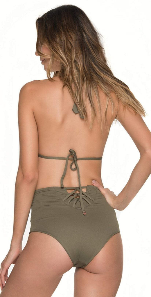 Malai Must Fishbone High Waist Bottom in Army Green  B00371-ARMY back