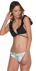 Malai Merry Blossom Triangle Top in Black T00349-BLK: