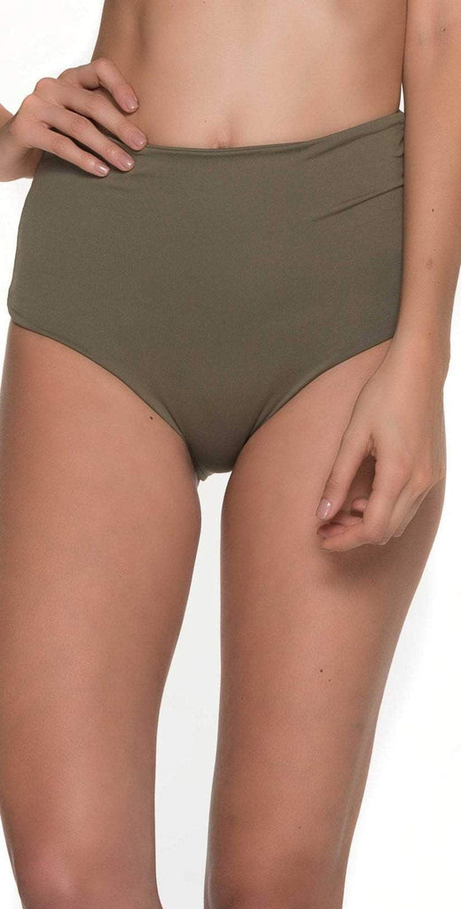 Malai Must Fishbone High Waist Bottom in Army Green  B00371-ARMY front